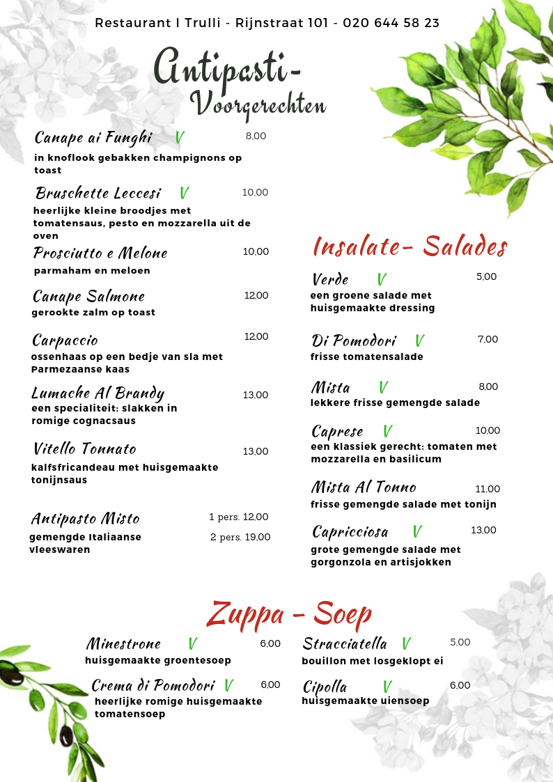 Website Menu I Trulli - antipasti
