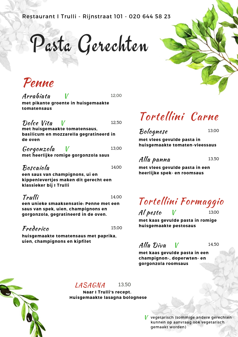 Website Menu I Trulli - pastagerechten 1