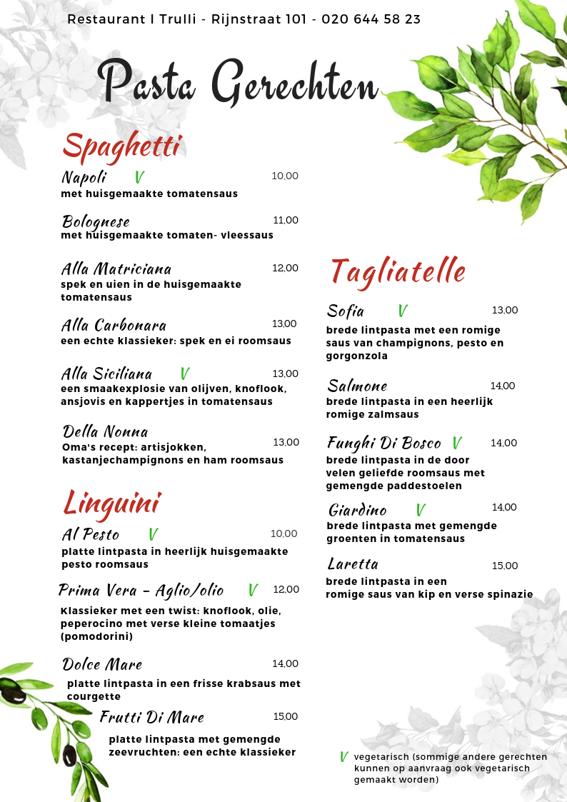 Website Menu I Trulli - pastagerechten 2