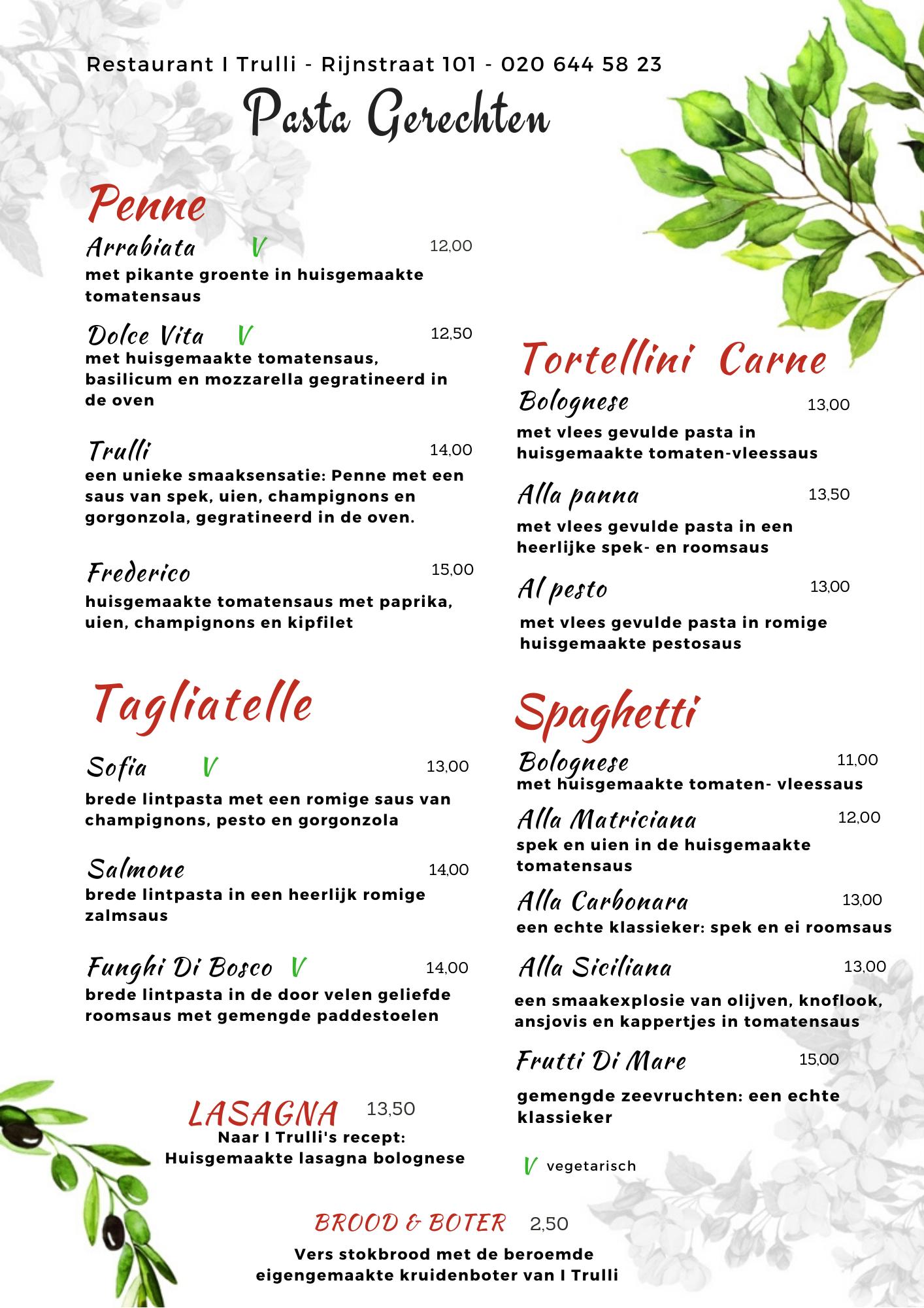 Website Menu I Trulli - corona - pasta gerechten