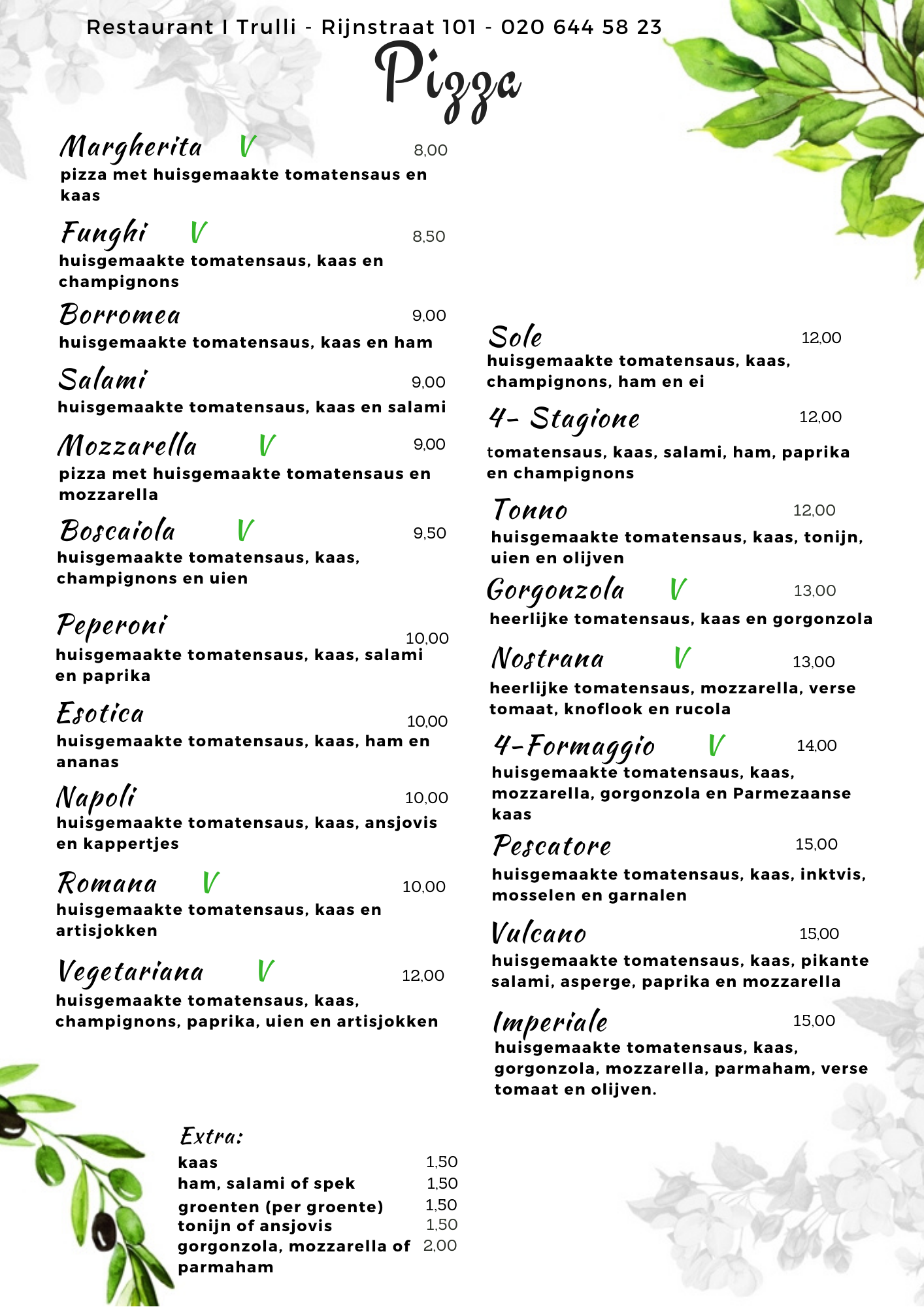 Website Menu I Trulli - corona - pizza