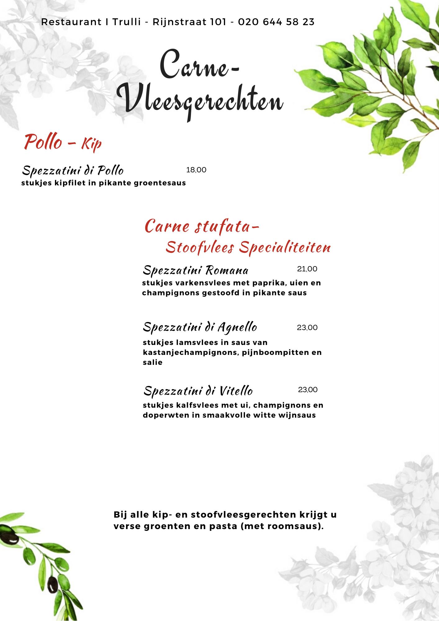 Website Menu I Trulli - corona - vleesgerechten